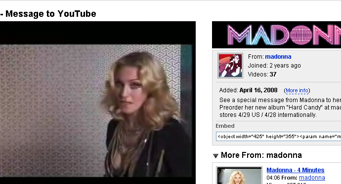 madonna does youtube
