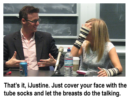 that\'s it, ijustine. cover your face with the tube socks and let the breasts do the talking