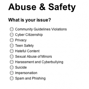 YouTube's abuse and safety menu