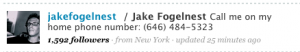jake fogelnest phone number on twitter