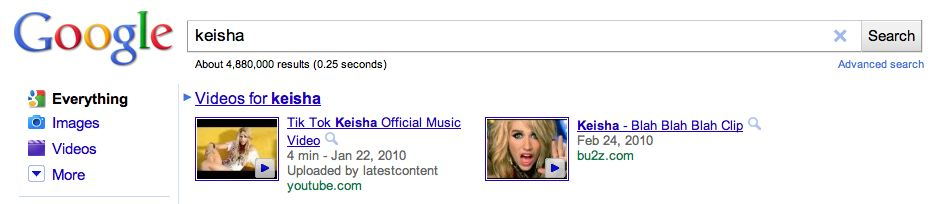 Keisha search result on google