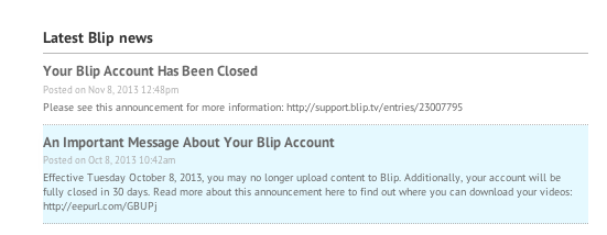 Blip.tv closed me account