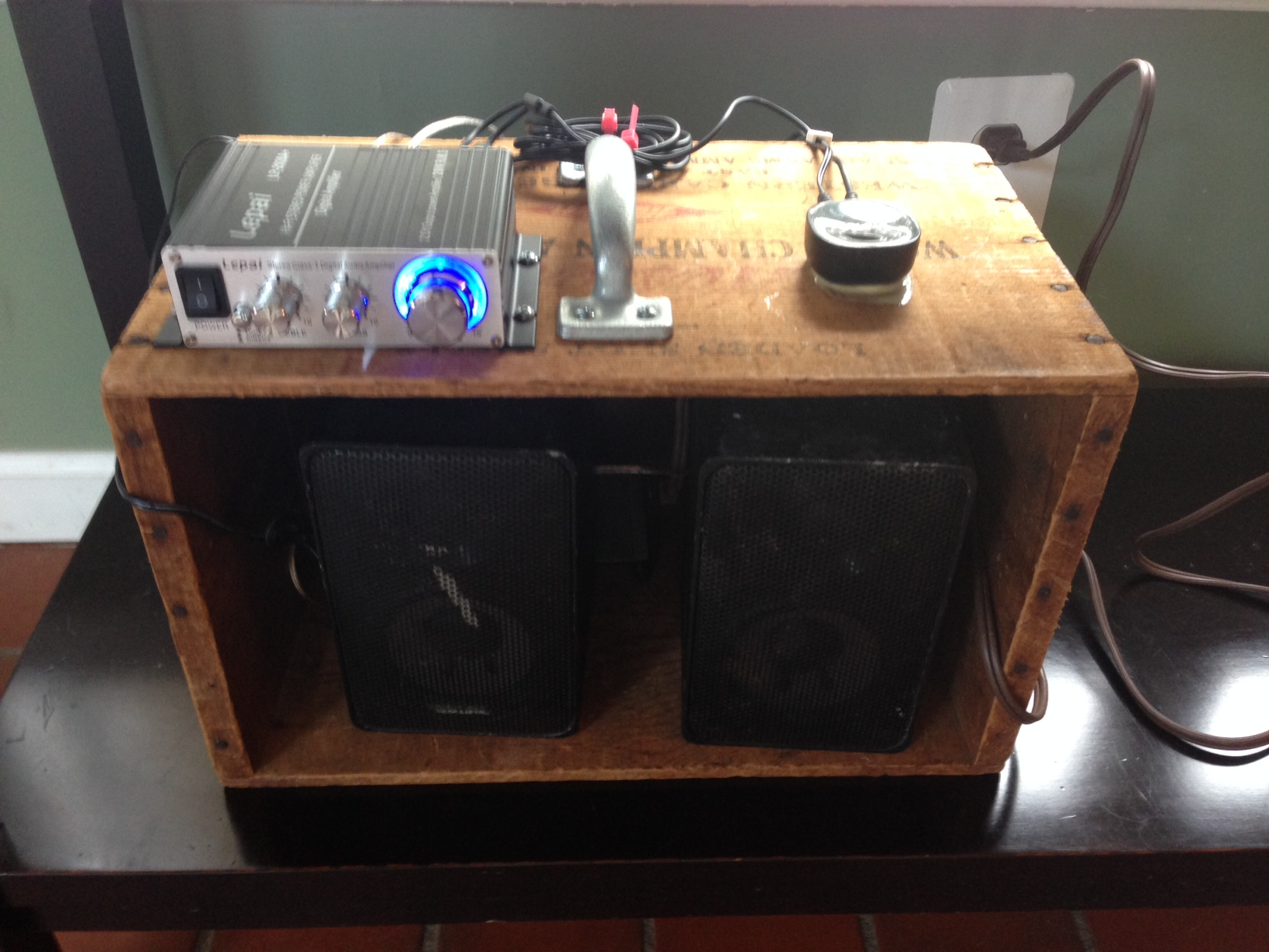 My badass, poor-man's semi-portable bluetooth amplified speaker system
