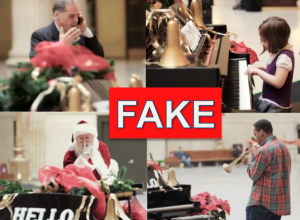 "Amtrak ""magic piano"" in Chicago train station is fake candid camera viral video."
