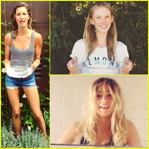 Models doing ice bucket challenge